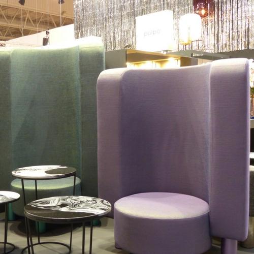 fauteuil pulpe vert et mauve